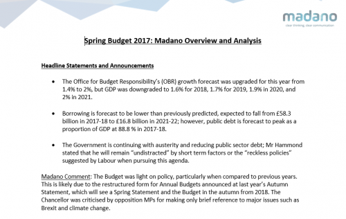 Spring Budget 2017: Madano Overview and Analysis